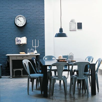 Blue Wall In Dining Room