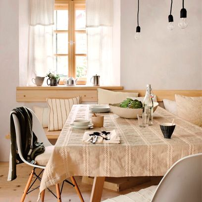 Tablecloth, Room, Interior design, Wood, Floor, Textile, Table, Furniture, Flooring, Interior design,