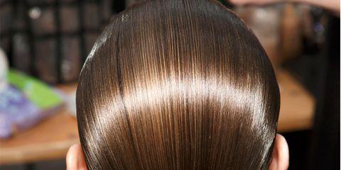 Hair, Hairstyle, Hair coloring, Beauty, Chignon, Brown, Chin, Forehead, Brown hair, Long hair,