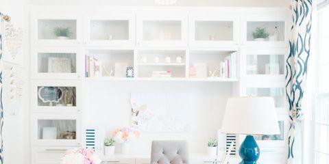 Room, Interior design, White, Furniture, Turquoise, Wall, Table, Teal, Shelving, Aqua,
