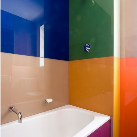 Blue, Bathtub, Property, Wall, Bathtub accessory, Plumbing fixture, Colorfulness, Plumbing, Azure, Bathroom accessory,