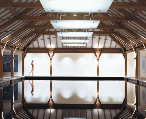 Ceiling, Architecture, Daylighting, Building, Beam, Room, Roof, Interior design, House, Window,