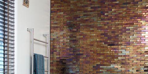Property, Interior design, Room, Plumbing fixture, Brick, Wall, Real estate, Window covering, Tap, Brickwork,