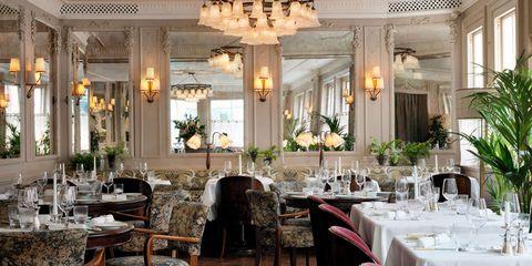 Restaurant, Building, Interior design, Room, Lighting, Table, Function hall, Furniture, Ceiling, Architecture,