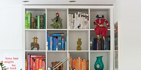 Shelf, Shelving, Furniture, Room, Bookcase, Living room, Green, Interior design, Home, Wall,