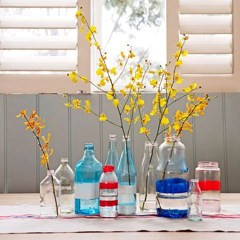 Blue, Fluid, Liquid, Yellow, Drinkware, Bottle, Glass, Flower, Plastic bottle, Twig,