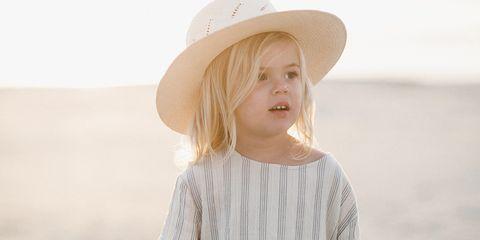 Clothing, White, Shoulder, Sleeve, Dress, Sun hat, Joint, Hat, Summer, Beige,