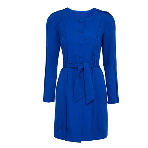 Blue, Sleeve, Shoulder, Textile, Collar, Standing, Style, Electric blue, Formal wear, Dress,