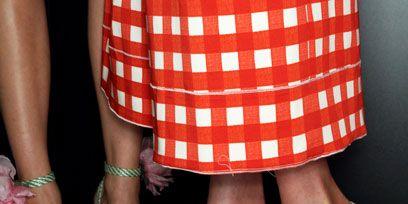 Pattern, Human leg, Red, Shoe, Pink, Fashion accessory, Plaid, Sandal, Fashion, Tartan,