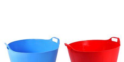 Blue, Plastic, Aqua, Electric blue, Cobalt blue, Bucket, Cup, Porcelain, Cylinder, Mixing bowl,