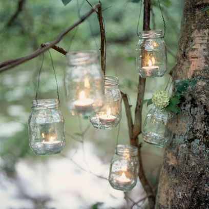 Mason jar, Branch, Glass bottle, Lighting, Glass, Tree, Twig, Plant, Bottle, Interior design,