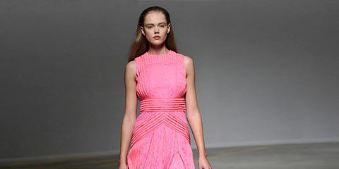 Clothing, Shoulder, Dress, Joint, One-piece garment, Pink, Fashion show, Style, Magenta, Fashion model,