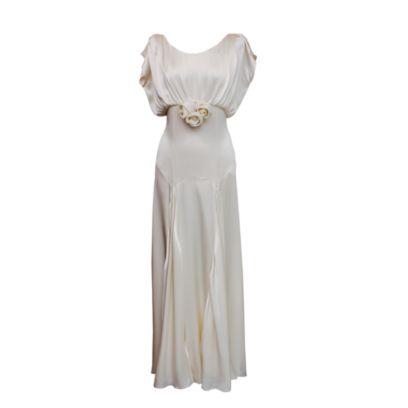 Dress, One-piece garment, Formal wear, Day dress, Pattern, Beige, Costume design, Ivory, Gown, Fashion design,