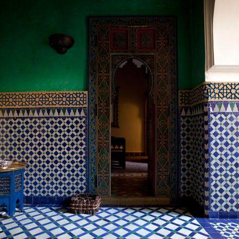 Floor, Flooring, Room, Interior design, Wall, Majorelle blue, Ceiling, Tile, Teal, Molding,