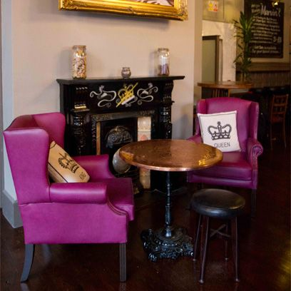 Room, Furniture, Picture frame, Purple, Magenta, Chair, Hardwood, Interior design, Wood stain, Velvet,