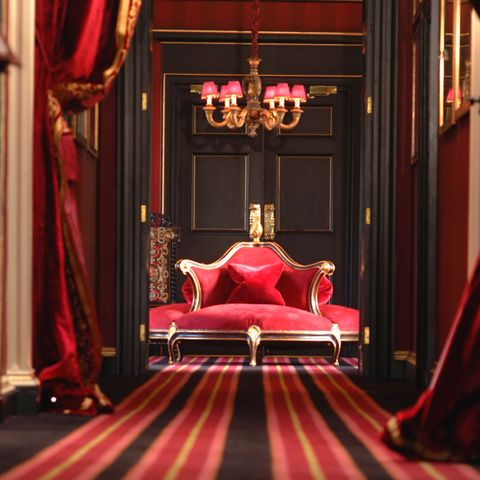 Red, Textile, Interior design, Room, Floor, Throne, Carpet, Interior design, Magenta, Maroon,