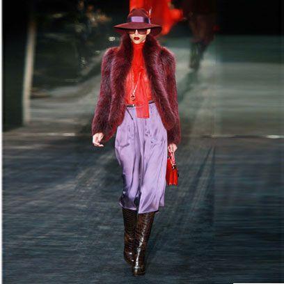 Hat, Textile, Outerwear, Style, Winter, Fashion show, Street fashion, Fashion, Runway, Red hair,