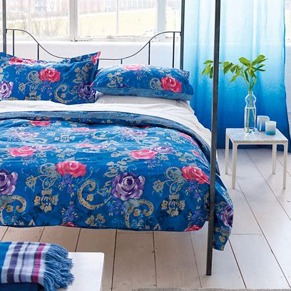 Blue, Room, Bed, Interior design, Textile, Bedding, Linens, Furniture, Bed sheet, Wall,