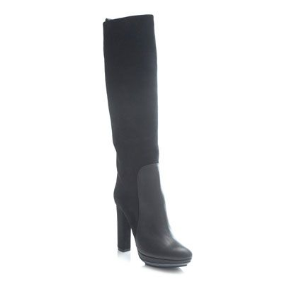 Boot, Costume accessory, Black, Leather, Knee-high boot, Riding boot, Fashion design, Synthetic rubber,