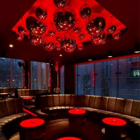 Lighting, Interior design, Red, Room, Ceiling, Interior design, Decoration, Hall, Couch, Light fixture,