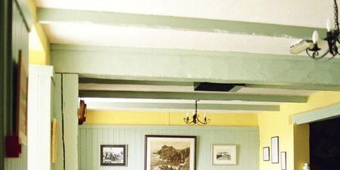 Wood, Room, Interior design, Furniture, Ceiling, Table, Hardwood, Light fixture, Picture frame, Interior design,