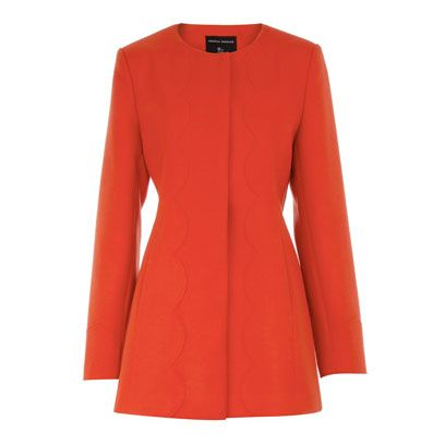Product, Sleeve, Collar, Textile, Red, Outerwear, White, Coat, Orange, Pattern,