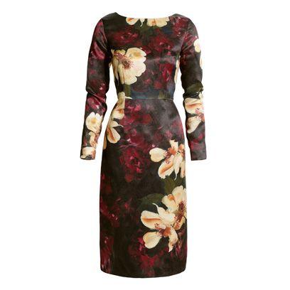 Sleeve, Dress, Red, Pattern, One-piece garment, Maroon, Day dress, Peach, Pattern, Fashion design,