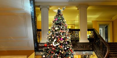 Lighting, Stairs, Interior design, Christmas decoration, Christmas tree, Room, Christmas ornament, Interior design, Holiday, Christmas,