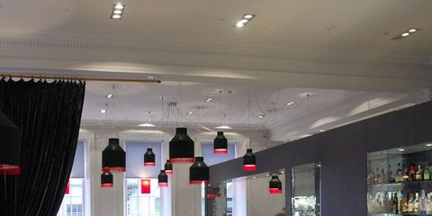 Lighting, Interior design, Table, Ceiling, Furniture, Interior design, Glass, Restaurant, Drink, Hall,