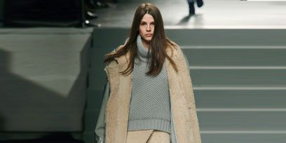 Clothing, Brown, Shoulder, Textile, Joint, Winter, Outerwear, Style, Fashion show, Street fashion,