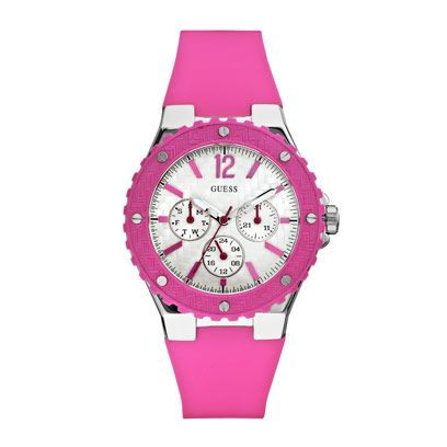 Product, Analog watch, Brown, Watch, Glass, Magenta, Red, White, Pink, Purple,
