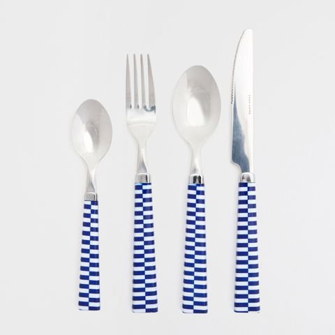 Blue, Dishware, White, Cutlery, Tableware, Azure, Kitchen utensil, Aqua, Household silver, Silver,