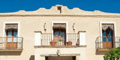 Plant, Flowerpot, Facade, Real estate, House, Azure, Shrub, Door, Balcony, Home,