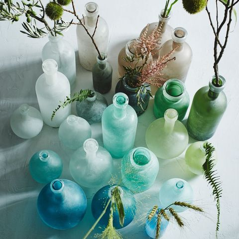 Blue, Teal, Aqua, Turquoise, Natural material, Still life photography, Creative arts, Vase, Collection, Still life,