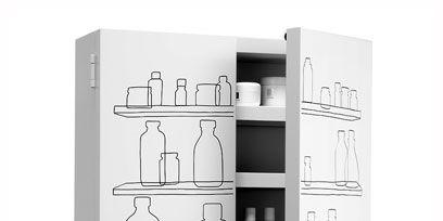 Shelving, Shelf, Grey, Bottle, Glass bottle, Still life photography, Drawing, Plastic bottle, Kitchen appliance accessory,
