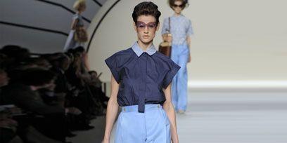 Clothing, Blue, Sleeve, Human body, Fashion show, Shoulder, Textile, Human leg, Joint, Runway,
