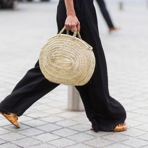 Clothing, Brown, Bag, Textile, Joint, Outerwear, Human leg, Sitting, Flooring, Street fashion,