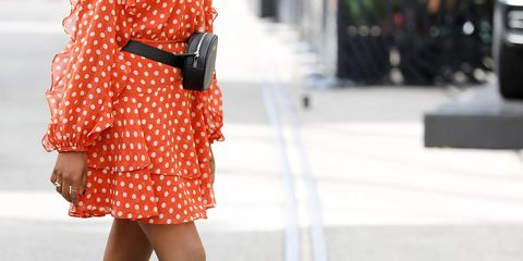 Clothing, Street fashion, Orange, Polka dot, Pattern, Fashion, Human leg, Shoulder, Waist, Leg,