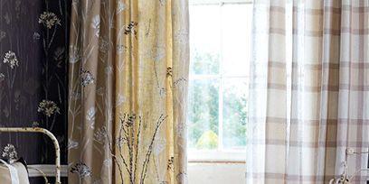 Room, Interior design, Textile, Interior design, Window treatment, Flooring, Window covering, Linens, Fixture, Curtain,