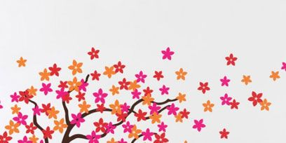Branch, Wall, Flower, Twig, Wall sticker, Petal, Art, Orange, Floral design, Creative arts,