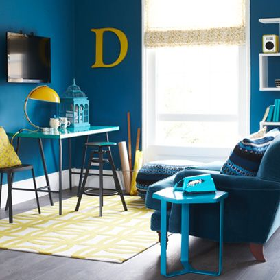 Blue, Room, Yellow, Interior design, Floor, Flooring, Table, Teal, Turquoise, Furniture,