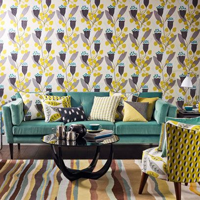 Yellow, Room, Interior design, Living room, Furniture, Table, Couch, Coffee table, Turquoise, Home,