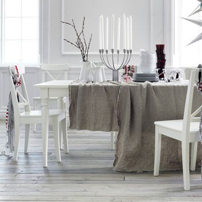 Room, Tablecloth, Floor, Furniture, Interior design, Table, White, Dining room, Glass, Flooring,
