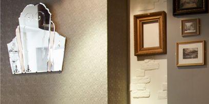 Room, Wood, Interior design, Table, Wall, Furniture, Glass, Interior design, Picture frame, Wood stain,