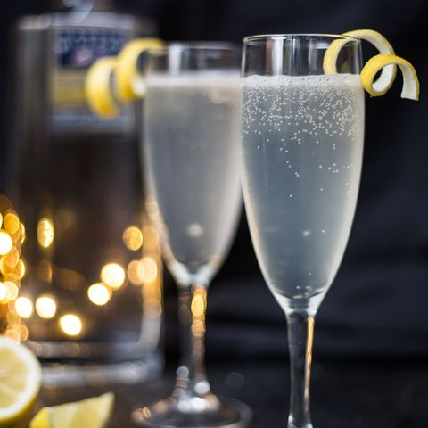 Champagne cocktail, Drink, Champagne stemware, Alcoholic beverage, Stemware, Classic cocktail, Cocktail, Distilled beverage, Champagne, Wine cocktail,