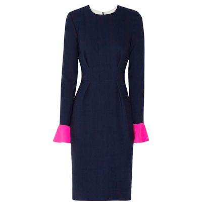 Sleeve, Shoulder, Dress, Textile, Standing, Formal wear, Style, Pattern, One-piece garment, Magenta,