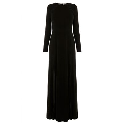 Clothing, Dress, Sleeve, Textile, Standing, One-piece garment, Formal wear, Style, Black, Day dress,
