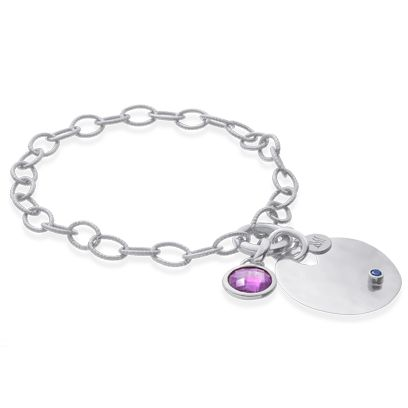 Jewellery, Fashion accessory, Metal, Circle, Lavender, Body jewelry, Violet, Silver, Gemstone, Chain,