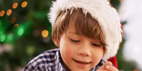 Happy, Child, Plaid, Holiday, Box, Toddler, Fur, Tartan, Christmas, Costume accessory,