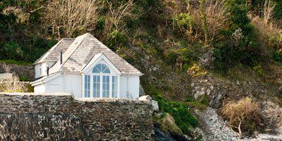 Natural landscape, House, Bank, Cottage, Shore, Bay, Hut, Coast, Rock, Coastal and oceanic landforms,